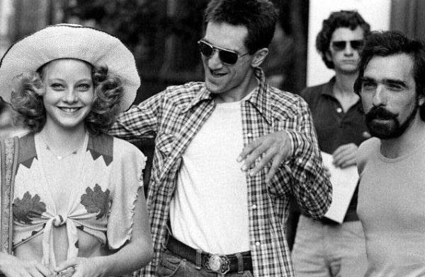 Джоди Фостер, Роберт Де Ниро и Мартин Скорсезе на съемках фильма «Таксист», 1975 год
