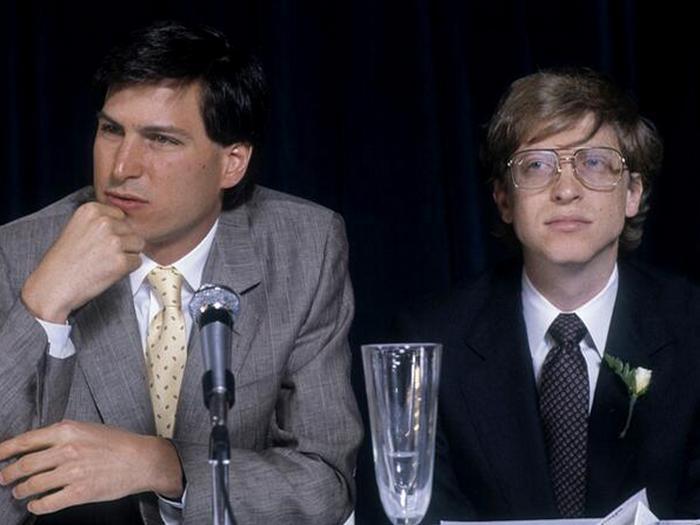 Стив Джобс и Билл Гейтс во время интервью в Нью-Йорке, 1984 год