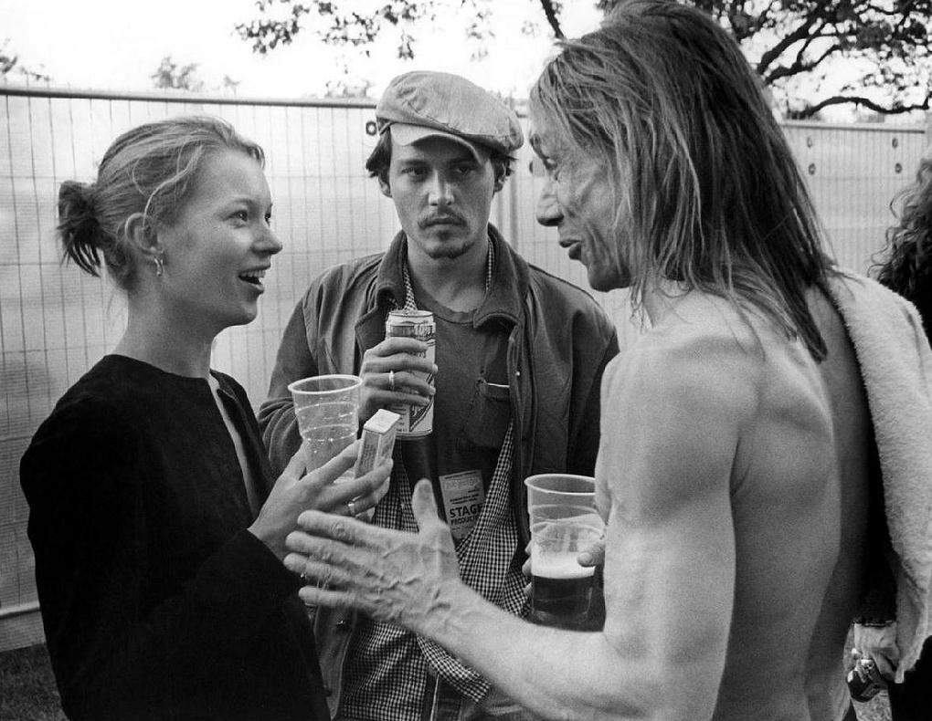 Кейт Мосс, Джонни Депп и Игги Поп в Лондоне (1996 год)