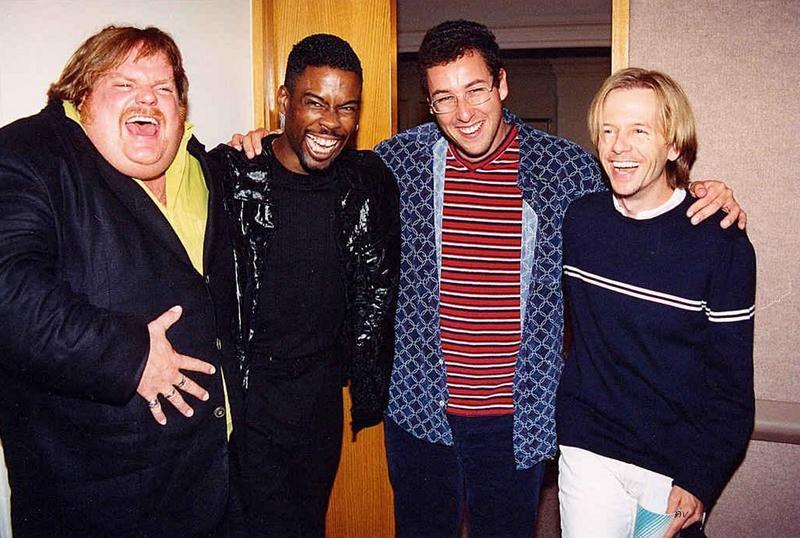 Крис Фарли, Крис Рок, Адам Сэндлер и Дэвид Спейд на церемонии вручения премии MTV Movie Awards, 1994 год
