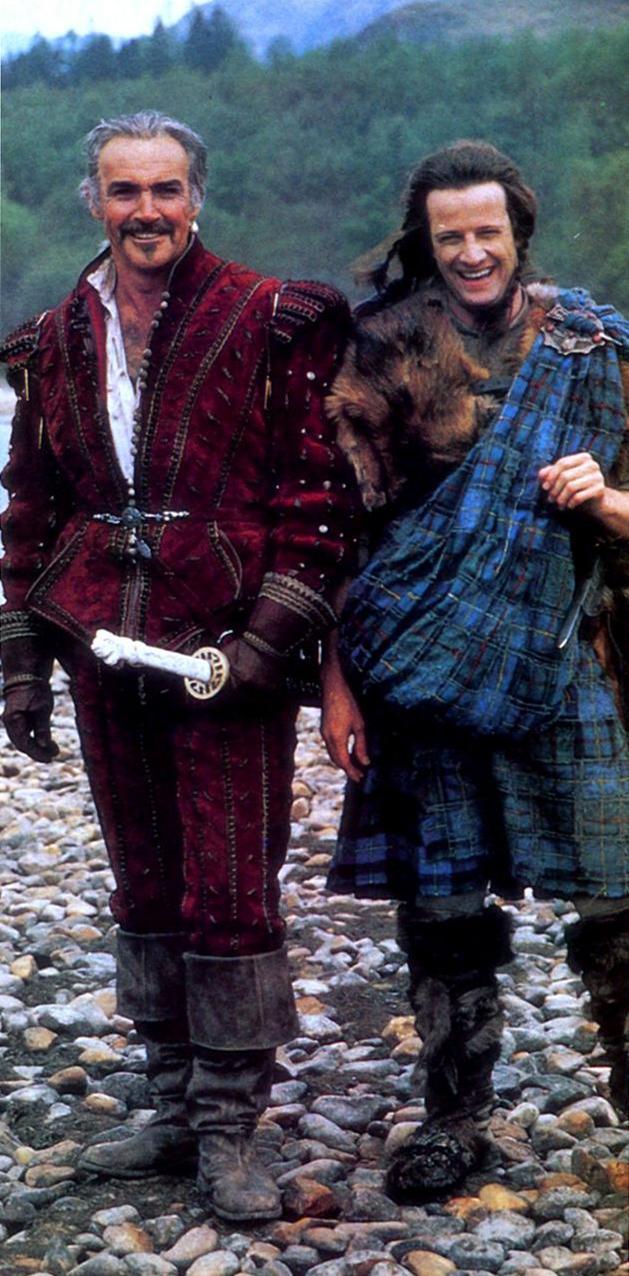 "Шон Коннери и Кристофер Ламберт во время съемок фильма ""Горец"", 1985 год"
