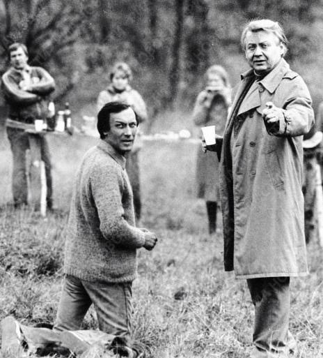 Олег Янковский и Олег Табаков на съемках «Полетов во сне и на яву», 1982 год