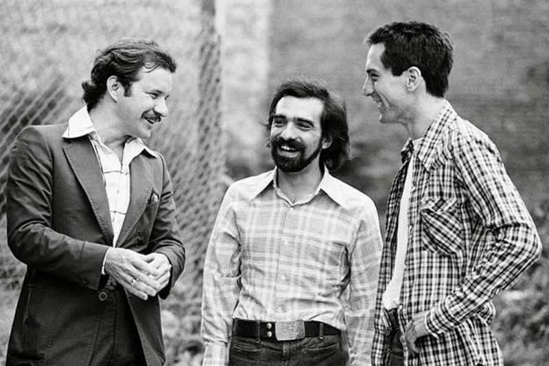 """Сценарист Пол Шредер, Мартин Скорсезе и Роберт Де Ниро на сьемках фильма """"Таксист"""", 1975 год"""