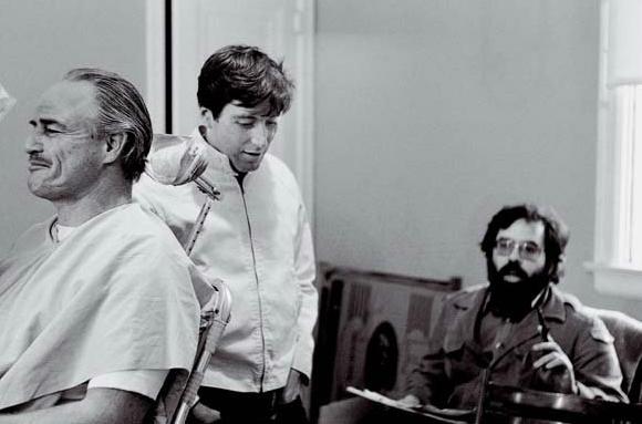 Фрэнсис Форд Коппола, Марлон Брандо и Аль Пачино на съемках «Крестного отца»