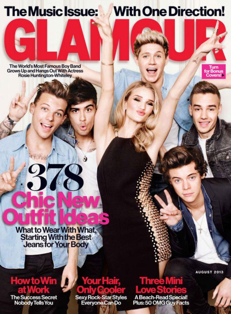 "Роузи Хантингтон-Уайтли и ребята из ""One Direction"" в августовском номере журнала GLAMOUR US"