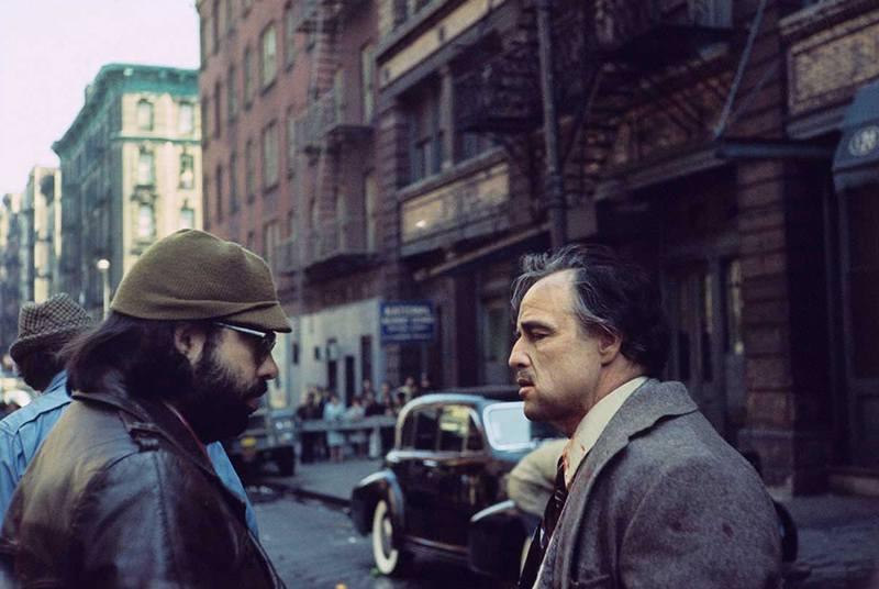 """Марлон Брандо и Фрэнсис Форд Коппола на съемках """"Крестного отца"""", 1972 год"""