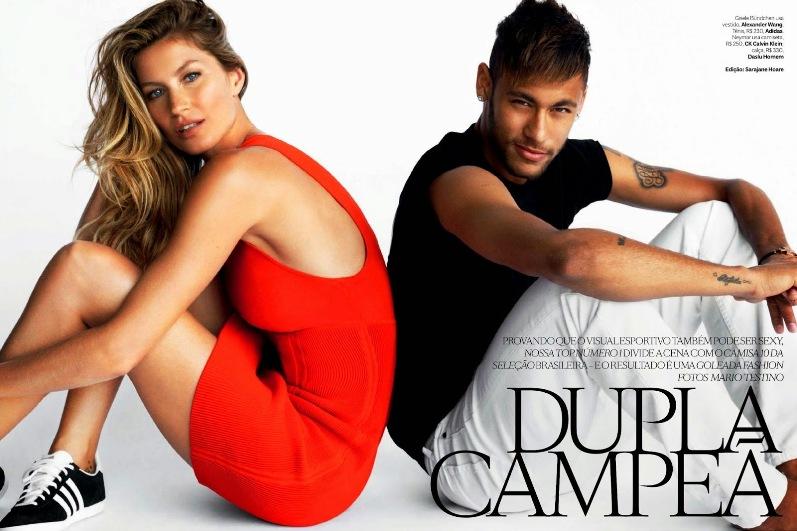 Неймар и Жизель Бундхен в фотосессии Марио Тестино для журнала Vogue Brazil, июнь 2014