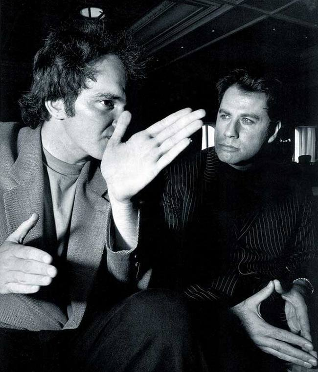 """Квентин Тарантино и Джон Траволта во время съемок фильма """"Криминальное чтиво"""", 1993 год"""