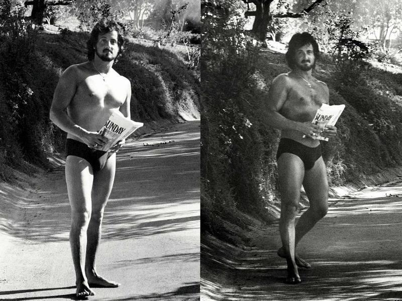 Сильвестр Сталлоне поднимает утреннюю газету в своем доме в Малибу, 1979 год