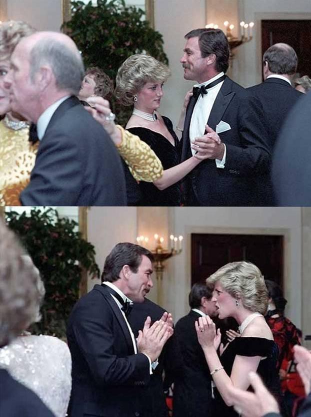 Принцесса Диана танцует с Томом Селлеком в Белом доме, 1985 год