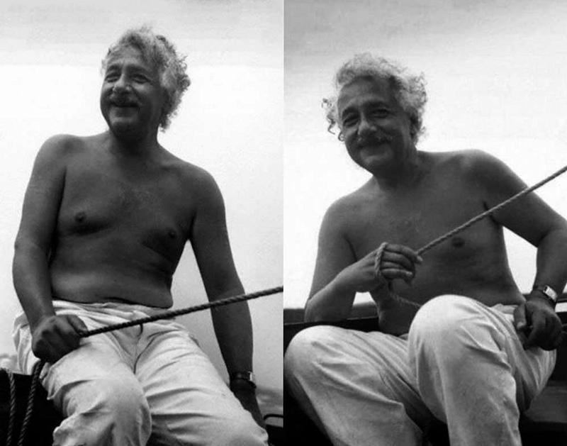 Альберт Эйнштейн катается на лодке, 1945 год