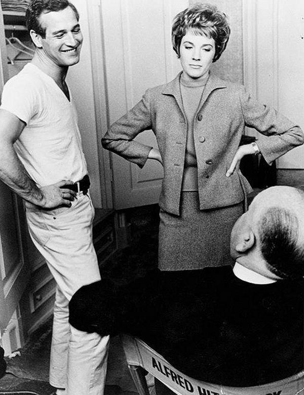 """Пол Ньюман, Джули Эндрюс и Альфред Хичкок во время съемок фильма """"Разорванный занавес"""", 1966 год"""
