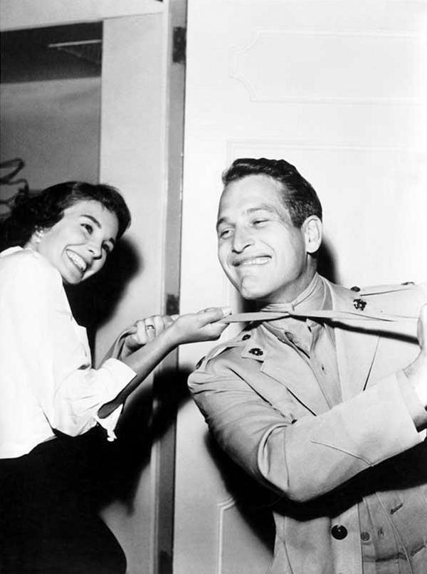 "Джин Симмонс и Пол Ньюман на съемках фильма ""Пока не поплывут"", 1957 год"
