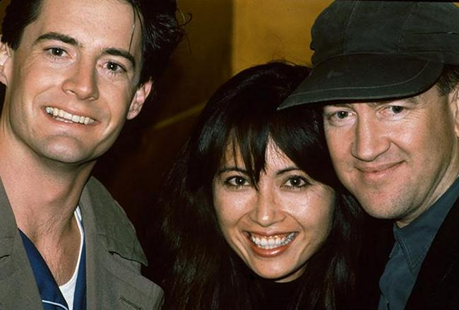 "Кайл Маклахлен, Паула Шиматсу и Дэвид Линч на съемках фильма ""Твин Пикс"", 1990 год"