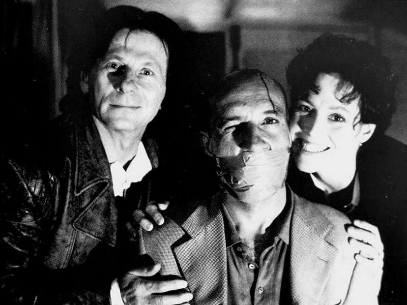 """Роман Полански, Бен Кингсли и Сигурни Уивер на съемках фильма """"Смерть и девушка"""", 1994 год"""