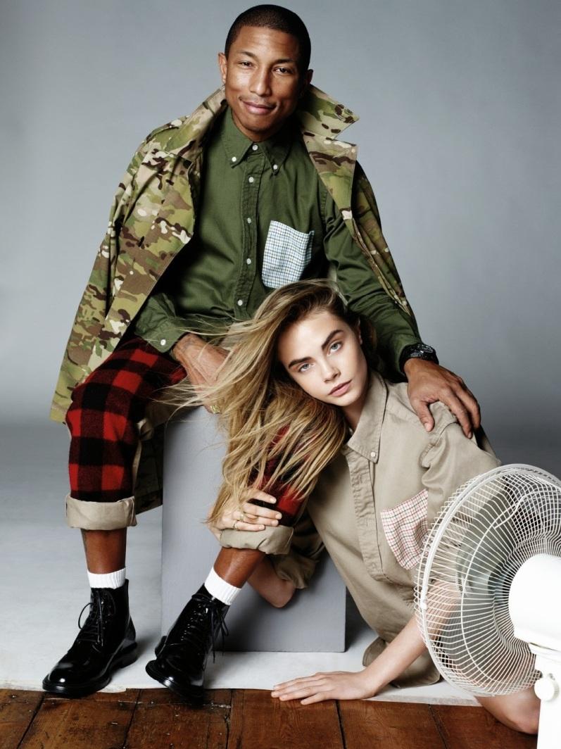 Кара Делевинь и Фаррелл Уильямс в фотосессии для журнала VOGUE UK, сентябрь 2013