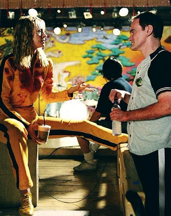 "Ума Турман и Квентин Тарантино на съемках фильма ""Убить Билла"", 2002 год"