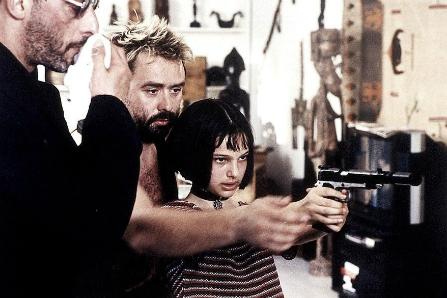 Жан Рено, Люк Бессон и Натали Портман на съемках фильма «Леон»