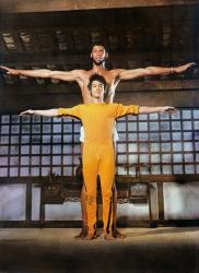 """Брюс Ли и Карим Абдул-Джаббар на съемках фильма """"Игра смерти"""", 1977 год"""