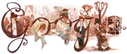 Чарльз Диккенс на праздничном логотипе Google