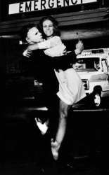 "Дик Уорлок и Джейми Ли Кертис на съемках фильма ""Хэллоуин 2"", 1981 год"