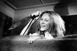 "Джейми Ли Кертис на съемках картины ""Хэллоуин"", 1978 год"