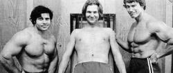 """Франко Коломбо, Джефф Бриджес и Арнольд Шварценеггер на съемках фильма """"Оставайся голодным"""", 1976 год"""