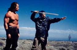 "Арнольд Шварценеггер и Джон Милиус на съемках фильма ""Конан-варвар"", 1981 год"