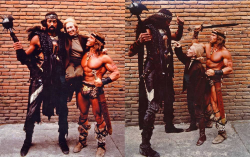 """Уилт Чемберлен, Анна Стрик и Арнольд Шварценеггер во время съемок фильма """"Конан-разрушитель"""", 1984 год"""