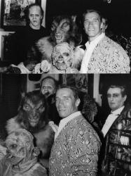 """Арнольд Шварценеггер с монстрами из фильма """"Взвод монстров"""" на вечеринке после его премьеры, 1987 год"""