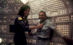 "Сигурни Уивер и Иэн Холм на съемках фильма ""Чужой"", 1978 год"