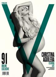 Беременная Кристина Агилера в фотосессии для журнала «V Magazine», август 2014