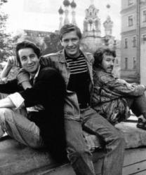Леонид Ярмольник, Александр Абдулов и Андрей Макаревич, 1987 год