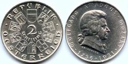 Вольфганг Амадей Моцарт на монетах и почтовых марках