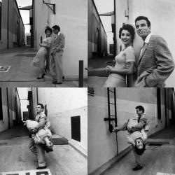 """Элизабет Тейлор и Монтгомери Клифт на съемках фильма """"Место под солнцем"""", 1950 год"""