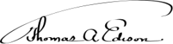 Автограф Томаса Алва Эдисона