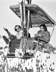 Джек Николсон и Роман Полански на отдыхе в швейцарских Альпах, 1975 год