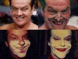 """Джек Николсон до и после наложения грима для роли Джокера в картине """"Бэтмен"""", 1989 год"""