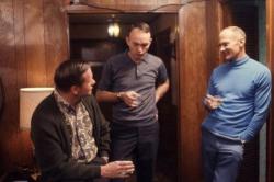 Экипаж Аполлона 11 Нил Армстронг, Майкл Коллинз и Базз Олдрин в Хьюстоне, 1969 год