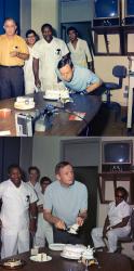 Нил Армстронг празднует свой 39-й день рождения в лаборатории Lunar Receiving вскоре после миссии Аполлон-11, 5 августа 1969 года