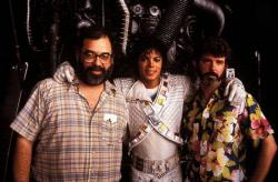 """Френсис Форд Коппола, Майкл Джексон и Джордж Лукас на съемках фильма """"Капитан Ио"""", 1986 год"""