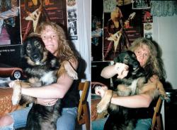 Джеймс Хетфилд с Клайвом, собакой продюсера Марка Уитакера, 1985 год
