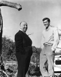 """Альфред Хичкок и Энтони Перкинс на съемках фильма """"Психо"""", 1960 год"""