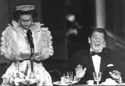 Президент США Рональд Рейган и королева Великобритании  Елизавета II, 1983 год