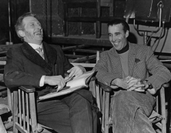 """Питер Кушинг и Кристофер Ли на съемках фильма """"Горгона"""", 1963 год"""