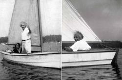 Альберт Эйнштейн катает Маргарет Лебах на своей лодке, 1937 год