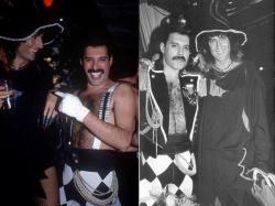 Брайан Мэй и Фредди Меркьюри на вечеринке в честь 39-летия Фредди, Мюнхен, 1985 год