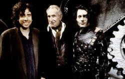 "Тим Бертон, Винсент Прайс и Джонни Депп на съемках фильма ""Эдвард руки-ножницы"", 1990 год"