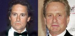 Майкл Дуглас в 1988 году и 2007 году
