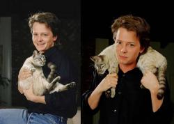 Майкл Дж. Фокс со своим котом, 1988 год